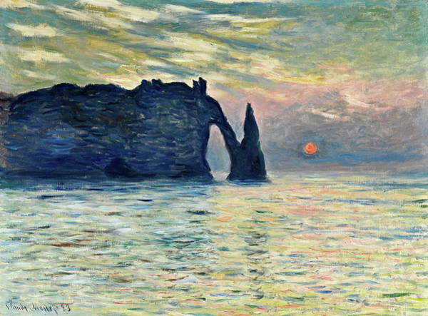 Painting - The Cliff, Etretat, Sunset by Claude Monet