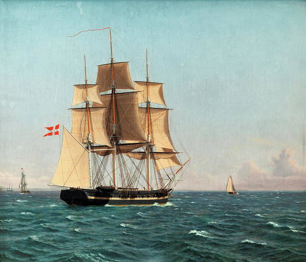 Wall Art - Painting - The Corvette Najaden Under Sail by Christoffer Wilhelm Eckersberg