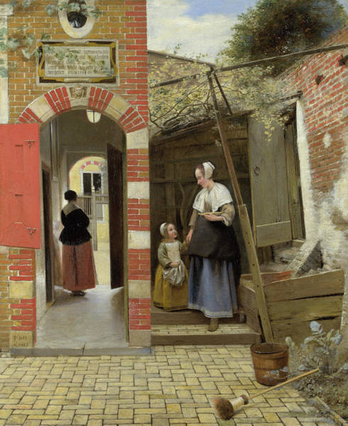 Painting - The Courtyard Of A House In Delft by Pieter de Hooch