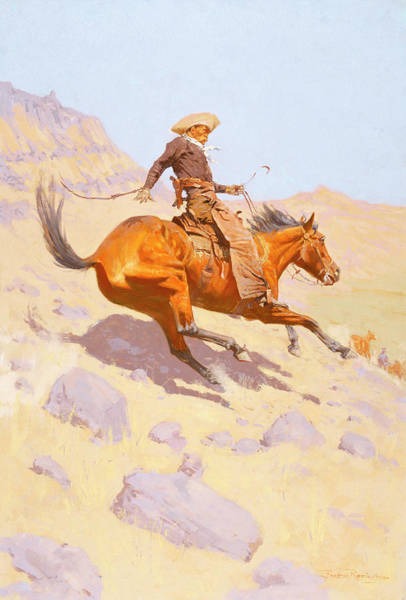 Whip Painting - The Cowboy by Frederic Remington
