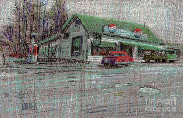 Gas Station Drawing - The Cracker Barrel by Donald Maier