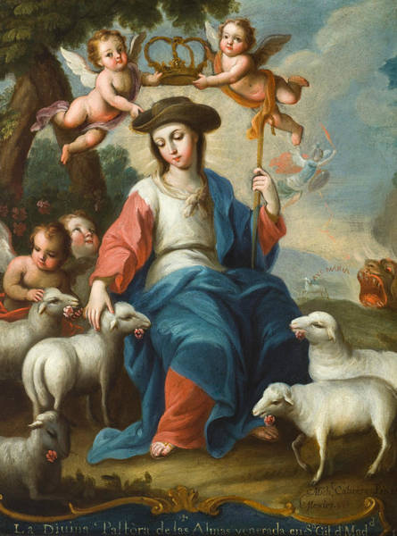 The Shepherdess Wall Art - Painting - The Divine Shepherdess by Miguel Cabrera