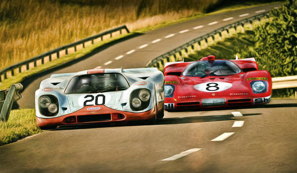 Le Mans 24 Wall Art - Digital Art - The Duel by Peter Chilelli
