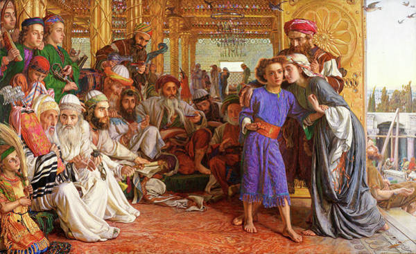 Pre-raphaelite Brotherhood Painting - The Finding Of The Saviour In The Temple by William Holman Hunt