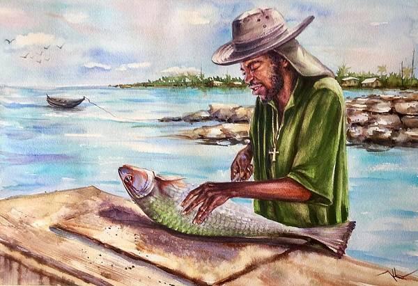 Painting - The Fisherman by Katerina Kovatcheva