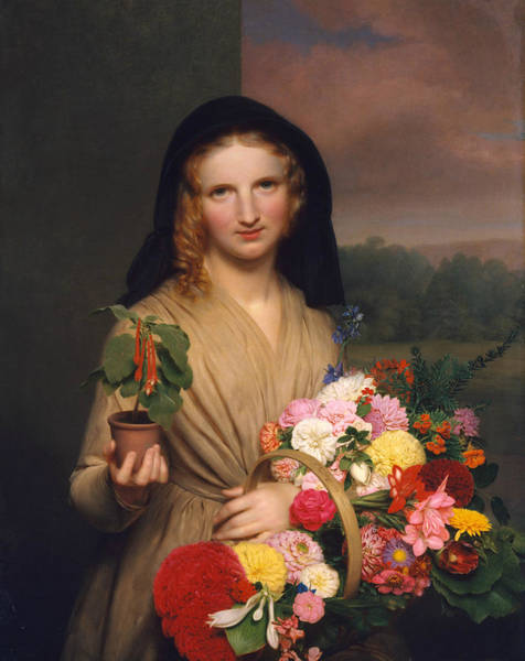 Painting - The Flower Girl by Charles Cromwell Ingham