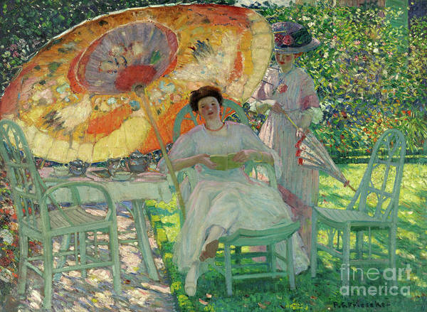 Shade Garden Wall Art - Painting - The Garden Parasol by Frederick Carl Frieseke