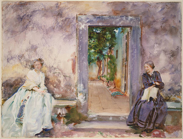 Garden Wall Drawing - The Garden Wall by John Singer Sargent