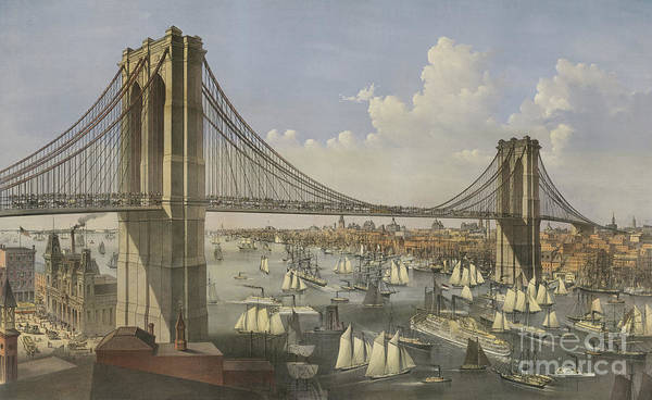Currier And Ives Painting - The Great East River Suspension Bridge by Currier and Ives