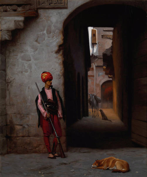 Irregular Painting - The Guard by Jean-Leon Gerome