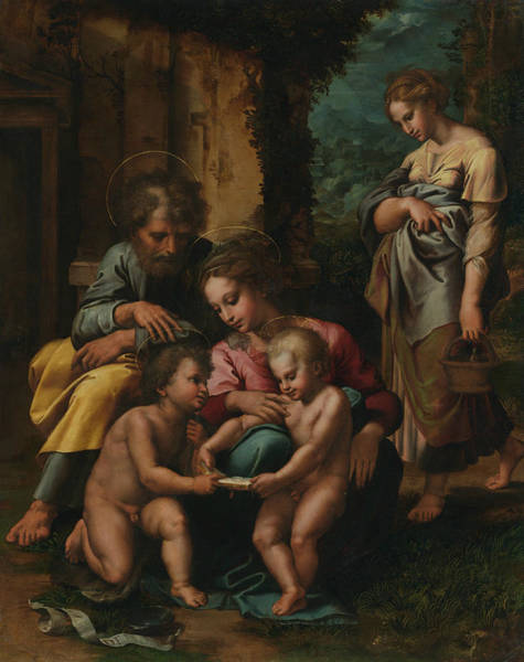 Giulio Painting - The Holy Family by Giulio Romano