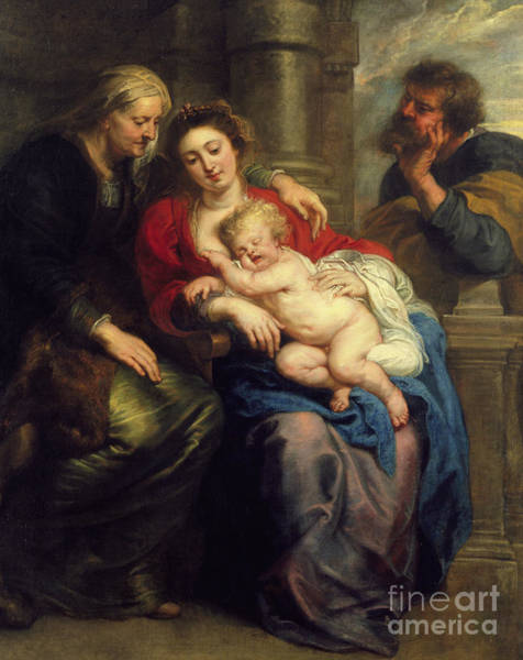 Saint Anne Painting - The Holy Family With St Anne by Peter Paul Rubens