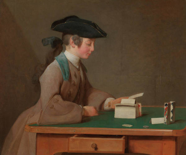 Drawers Painting - The House Of Cards by Jean-Simeon Chardin