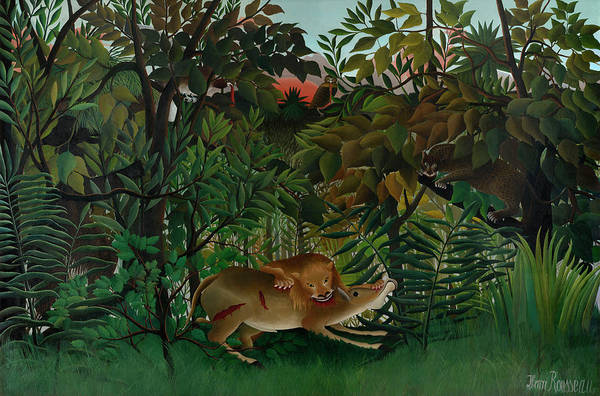 Wall Art - Painting - The Hungry Lion Attacking An Antelope by Henri Rousseau