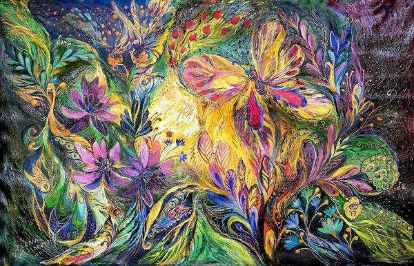 Kabbalistic Wall Art - Painting - The Life Of Butterfly by Elena Kotliarker