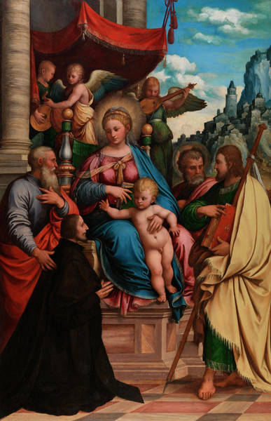Disciple Wall Art - Painting - The Madonna And Child With Angels, Saints And A Donor by Girolamo da Treviso