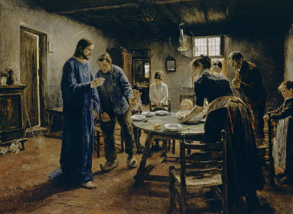 Wall Art - Painting - The Mealtime Prayer by Fritz von Uhde