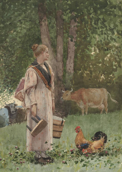 Wall Art - Drawing - The Milk Maid by Winslow Homer