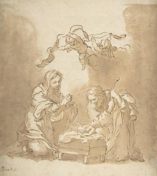 Baroque Drawing - The Nativity by Bartolome Esteban Murillo