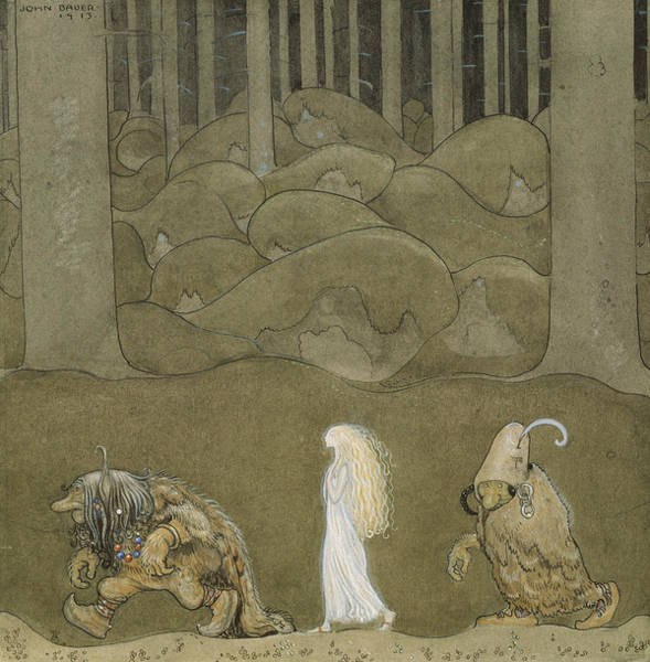 Troll Wall Art - Painting - The Princess And The Trolls by John Bauer