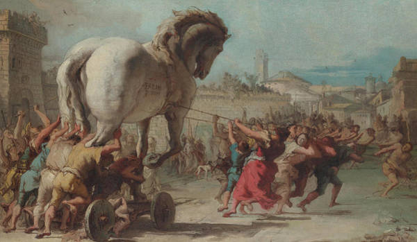 Penetrate Painting - The Procession Of The Trojan Horse Into Troy by Giovanni Domenico Tiepolo