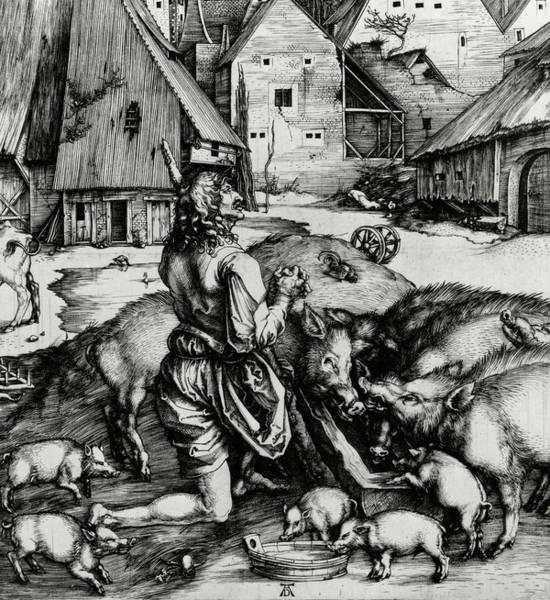 Wall Art - Drawing - The Prodigal Son by Albrecht Durer or Duerer