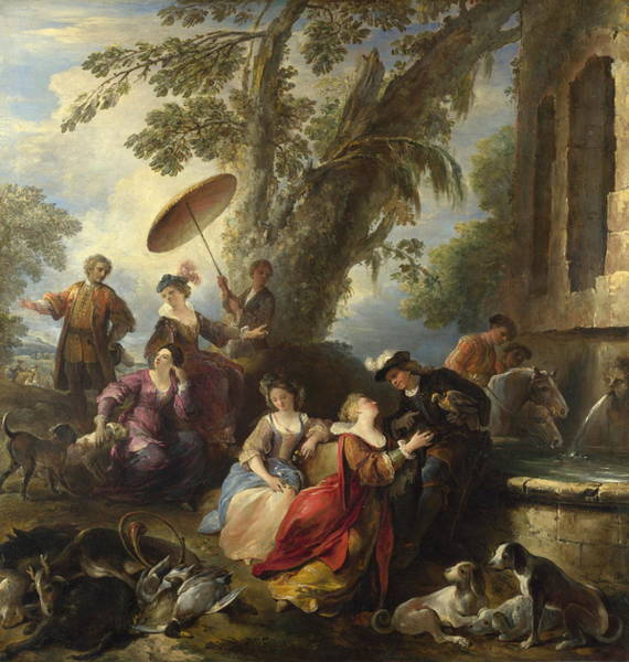 Fashion Plate Painting - The Return From The Hunt by Joseph Parrocel