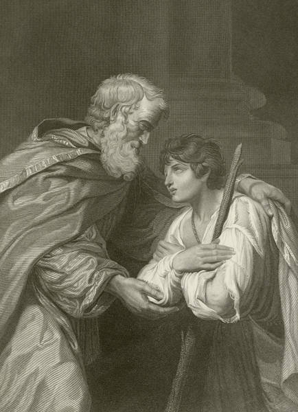 Tender Moment Wall Art - Drawing - The Return Of The Prodigal Son by English School