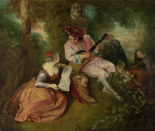 Strum Wall Art - Painting - The Scale Of Love by Jean-Antoine Watteau