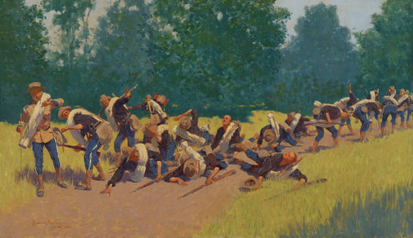 Wall Art - Painting - The Scream Of Shrapnel At San Juan Hill by Frederic Remington