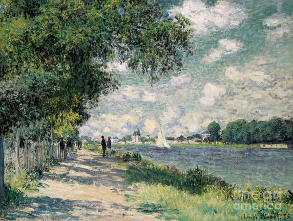 Riverbank Painting - The Seine At Argenteuil by Claude Monet