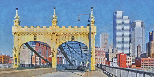 Digital Art - The Smithfield Street Bridge In Pittsburgh by Digital Photographic Arts