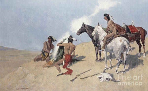 Wall Art - Painting - The Smoke Signal by Frederic Remington