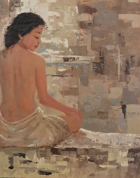 Towels Painting - The Spa Three by Laura Lee Zanghetti