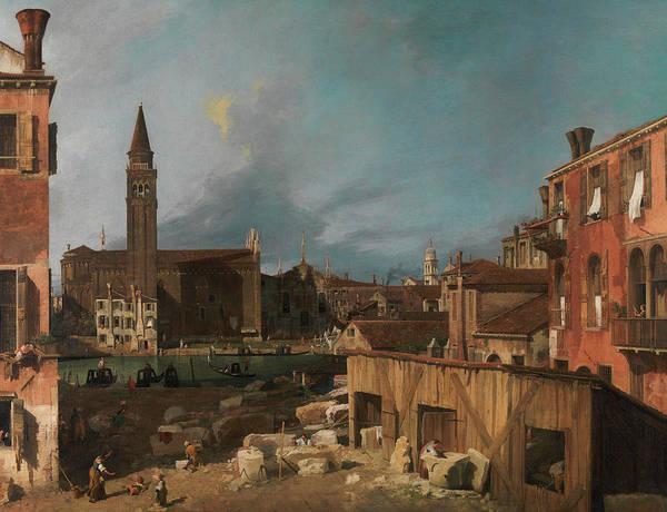 Church Yard Wall Art - Painting - The Stonemason's Yard by Canaletto