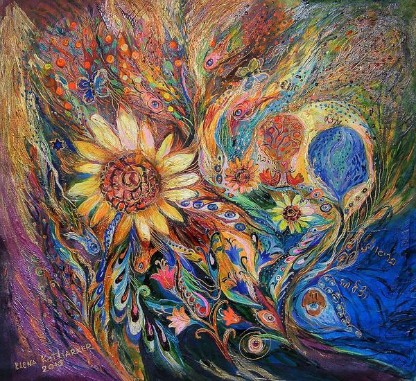 Kaballah Wall Art - Painting - The Sunflower by Elena Kotliarker