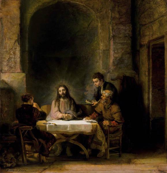 Redeemer Wall Art - Painting - The Supper At Emmaus by Rembrandt van Rijn