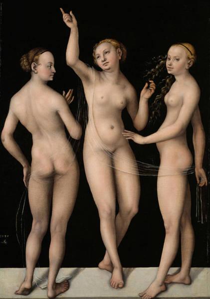 Cranach Painting - The Three Graces by Lucas Cranach the Elder