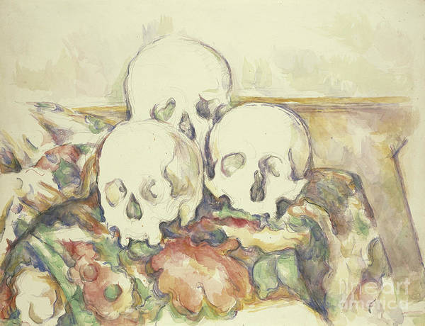 Wall Art - Painting - The Three Skulls by Paul Cezanne