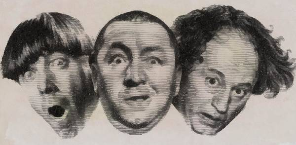 Show Business Wall Art - Drawing - The Three Stooges Hollywood Legends by John Springfield