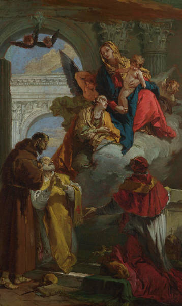 Assisi Painting - The Virgin And Child Appearing To A Group Of Saints by Giovanni Battista Tiepolo