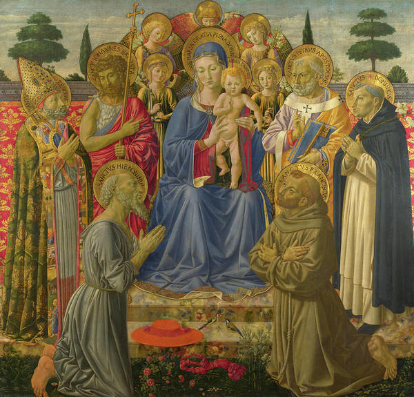 Disciple Wall Art - Painting - The Virgin And Child Enthroned Among Angels And Saints by Benozzo Gozzoli