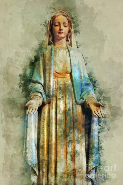 Sacred Mixed Media - The Virgin Mary by Ian Mitchell