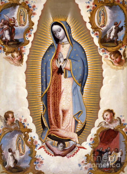 Central America Painting - The Virgin Of Guadalupe  by Mexican School