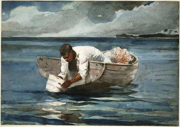 Wall Art - Painting - The Water Fan by Winslow Homer
