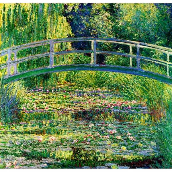 Waterlily Painting - The Waterlily Pond With The Japanese Bridge by Pam Neilands