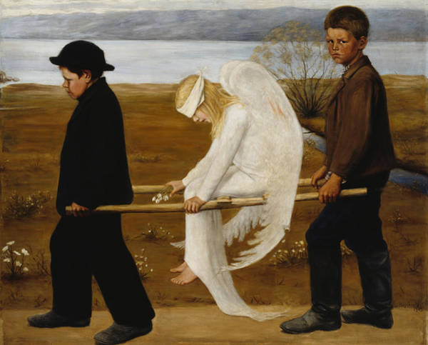 Wall Art - Painting - The Wounded Angel by Hugo Simberg