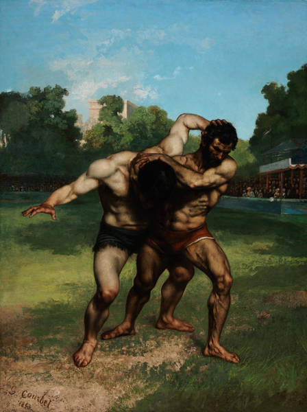 Painting - The Wrestlers by Gustave Courbet