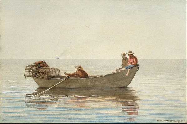 Angler Art Painting - Three Boys In A Dory With Lobster Pots  by Winslow Homer