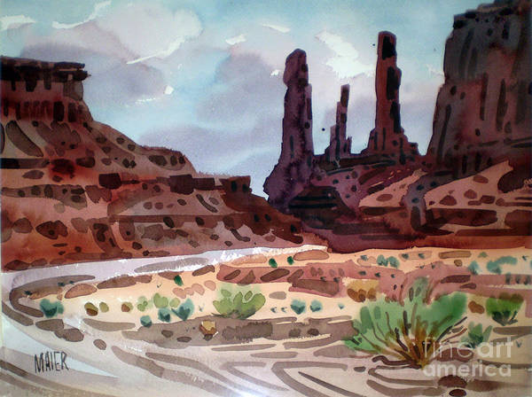 Butte Painting - Three Sisters by Donald Maier